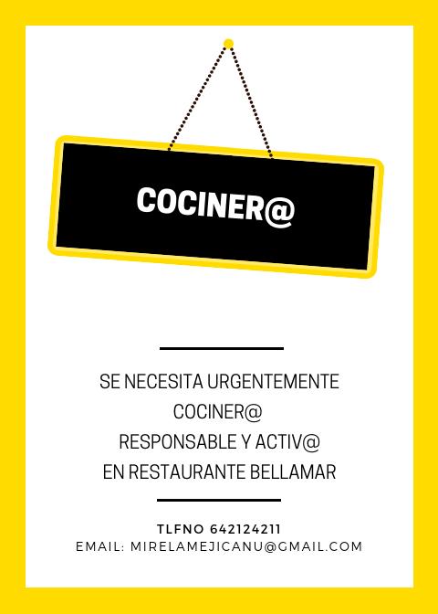 oferta empleo cocinero cocinera restaurante bellamar oliva